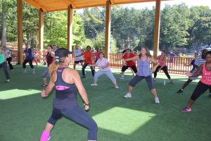 An adult zumba class taught in our magnificent open air pavillion.